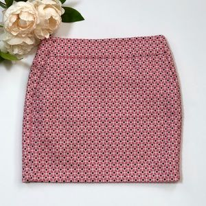 Ann Taylor Pink Geometric Printed Pencil Skirt